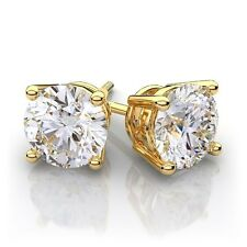 7CT Round Lab Diamond Stud Earrings 14k Yello Gold Brilliant Solitaire Screwback
