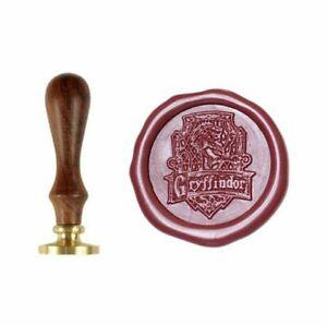 Harry Potter Gryffindor House Brass Wax Seal Stamp Sigil Wooden Handle