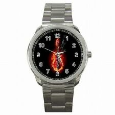 Electric Guitar Rock Music Guitarist Stainless Steel Watch