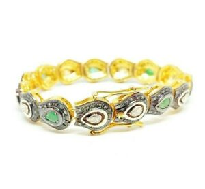 Silver Emerald And Polki Diamond Bracelet handmade Gold Plated indian jewelry