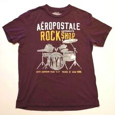 Aéropostale Rock T Shirt SIZE M Instruments shop Equipment New York NYC Maroon