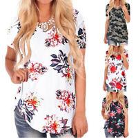 Summer Womens Casual Short Sleeve V Neck T Shirt Floral Sundress Loose Blouse