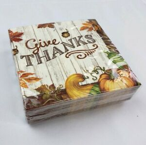 Special Occasion 36 Count 3 Ply Give Thanks Dinner Napkins Disposable Fall Leaf
