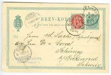 Denmark: Ps/postcard to Switzerland 1889, arr canc.