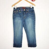 JONES WEAR JEANS Women's Denim Blue Dark Wash Straight Leg Cropped Pants Size 6