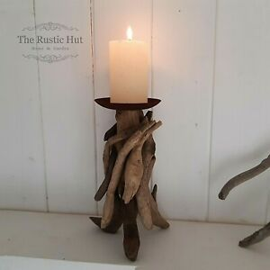 Natural Driftwood Candle Holder 20cm for Pillar Candle - Rust Plate, No Spike