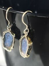 Fashion Women Druzy Earrings Natural Agate Geode Silver natural raw