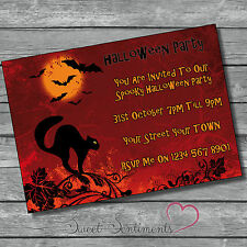 Personalised Halloween / Birthday Party Black Cat  Invitation Invite Pack Of 10