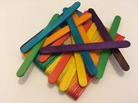 50 pack COLOURED natural wood wooden lolly sticks, for craft modelling