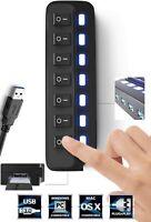 USB Hub 3.0 Splitter 7 Ports USB Data Hub Individual On/Off Switches & Lights