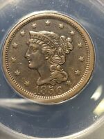 1856 braided hair large cent Upright 5 Anacs Ef40 Nice Original Coin