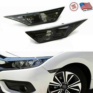 US For 2016-2020 Honda Civic Smoked Side Marker Lamp Turn Signal Light Led Bulbs