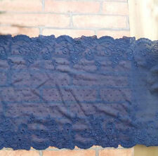 "11"" Wide Lovely Stretch Navy Lace with Navy Embroidered Flor y0351"