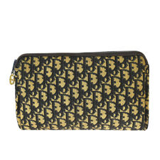 Auth Christian Dior Trotter Clutch Hand Bag Canvas Leather Navy Blue 05BS865