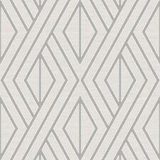 Papier Peint Géométrique Blanc/Argent - Poire Arbre UK30509 Metalique