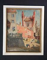 Original altes Ölgemälde: Spielende Kinder in Altstadt mit Ruine. Stadtturm.