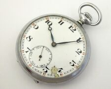 Antique Art Deco 1930s Mechanical Pure Nickle Cased Pocket Watch