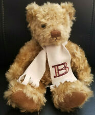 "Russ Berrie Burberry Fragrances Mohair Teddy Bear Wearing ""B"" Scarf Plush - 12"""