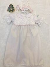 Authentic Vintage Cabbage Patch Kids Clothes Doll CPK Outfit Preemie Gown Hat