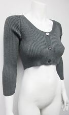 New Dolce & Gabbana  Women's Gray  Cropped  Wool Cardigan Sweater Size 48 US12