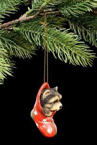 Christbaum-Schmuck Hund - Yorkie im Strumpf - Weihnachten Deko Kugel Terrier