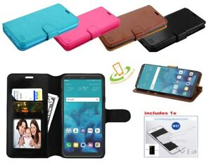 For LG Q7 & Q7+ Leather Flip Wallet Phone Case Cover Protective Card Slot Stand