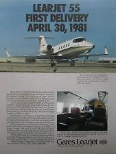 6/1981 PUB GATES LEARJET WICHITA LEARJET 55 BIZJET AIRCRAFT AVION ORIGINAL AD