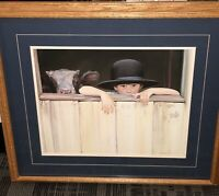 "Nancy Noel Painting Print ""My Calf"" Amish Boy 16x20 Signed, Oak Framed 27x31"""