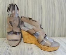 Nine West - Taupe Wedge Sandal Strappy Cork Platform, Size 7 US Excellent!