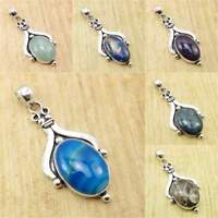 925 Silver Plated Natural HOWLITE & Other Gemstones Pendant ! LATEST STYLE Gift