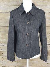J. Jill Womens Size Small S Linen Blend Brown Blend Wood Button Blazer Jacket B5