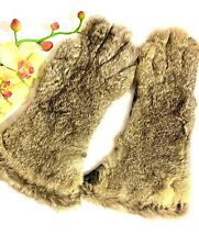 VTG Womens Rabbit Fur Long Gloves Fur Gray Black Leather Small/Medium Lined Soft