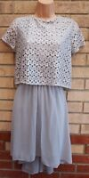 RIVER ISLAND GREY SILVER CROCHET LACE RUFFLE SKATER PARTY A LINE XMAS DRESS 12 M
