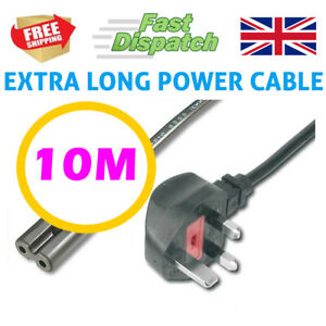 10M Extra Long Figure 8 2 two pin Power lead cable chord Black