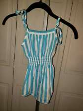 "*Vintage*Sunwear By Carrots Girls Romper* 80S"" Size.4""Turquoise And White* Exc"