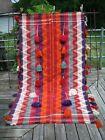 """Tribal Qashqai jajim 88"""" x 50"""" cover woven wool nomad tassels"""