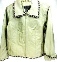 Terry Lewis Women Leather Jacket Size Lg Khaki Lined Brass Zipper Fabric Trim