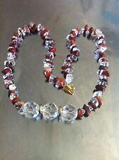 Damen Neu Halskette aus Edelstein und Echtquarzstein Perlen, Braun - Weiß Farbe.