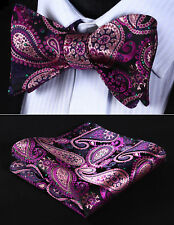 BP706JS Pink Green Paisley Bowtie Men Silk Self Bow Tie handkerchief set Wedding