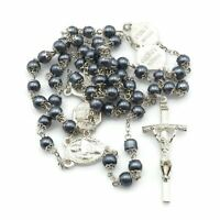 Vintage Silver Tone Gray Faux Pearl Bead Basilica Rosary Made In Italy