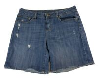 Jennifer Lopez Womens 10 MED Blue Jean Denim Distressed Shorts Cotton StretchJLO