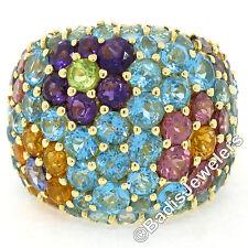 Pasquale Bruni 18K Gold Wide Multi Color Spring Flower Gemstone Cluster Ring