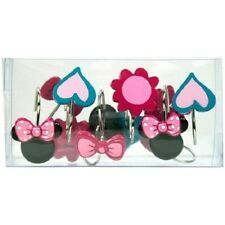 NEW DISNEY MINNIE MOUSE SHOWER CURTAIN HOOKS EARS FLOWERS HEARTS BOWS