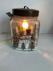 """Primitive Christmas Snowman Canning Large Jar with Tree, """"Fire"""""""