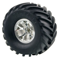 4XRC HSI 0701-3003 Rubber Tires Silver Wheel Sets For 1:10 Monster Bigfoot Truck