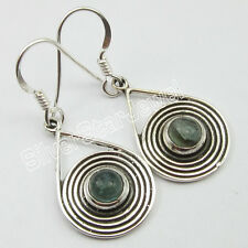"925 Solid Silver APATITE Ethnic Dangle EARRINGS 1.5"" ! Brand New"