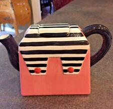 Vintage Collectible Ceramic Pink Purse/Handbag Shaped Teapot Striped Decor ALCO