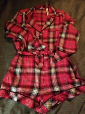 New Victorias Secret Sleep Romper Red Plaid Holiday 2019 Small