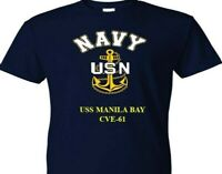 USS MANILA BAY  CVE-61  VINYL & SILKSCREEN NAVY ANCHOR SHIRT.