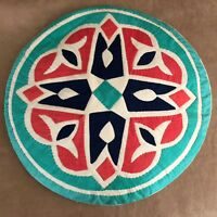Vintage handmade quilted pillow turquoise orange throw bright color round circle
